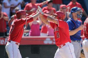 Mike Trout & Albert Pujols celebrates a HR on the LA Angels 5 game winning streak