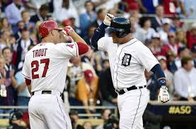 Miguel Cabera celebrates with MVP Mike Trout after Cabera 2 run HR in the 1st Inning of last night All Star Game