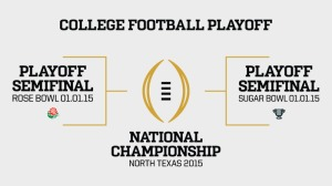 This Season in NCAA FBS is the 1st season of College Football Playoff, which the semifinals are the Rose & Sugar Bowl with the Title Game in AT&T Stadium in Arlington, Texas.