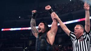 Roman Reigns hand being raised in victory over Randy Orton.