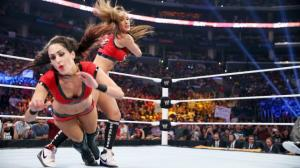 Nikki Bella betraying her Twin Sister Brie Bella in her match vs. Stephanie McMahon @ SummerSlam.
