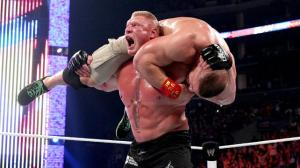 Brock Lensar giving a lifeless John Cena a F-5 en route to winning his 4th WWE Championship.