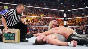 Seth Rollins pinning Dean Ambrose in there Lumberjack Match @ Summerslam.