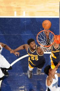 Roy Hibbert #55 of the Indiana Pacers shoots against the Orlando Magic at Bankers Life Fieldhouse on March 10, 2015 in Indianapolis, Indiana.