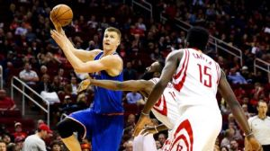 Kristaps Porzingis had 24 points, 14 rebounds and seven blocks in the Knicks' win over the Rockets on Saturday. Troy Taormina/USA TODAY Sports